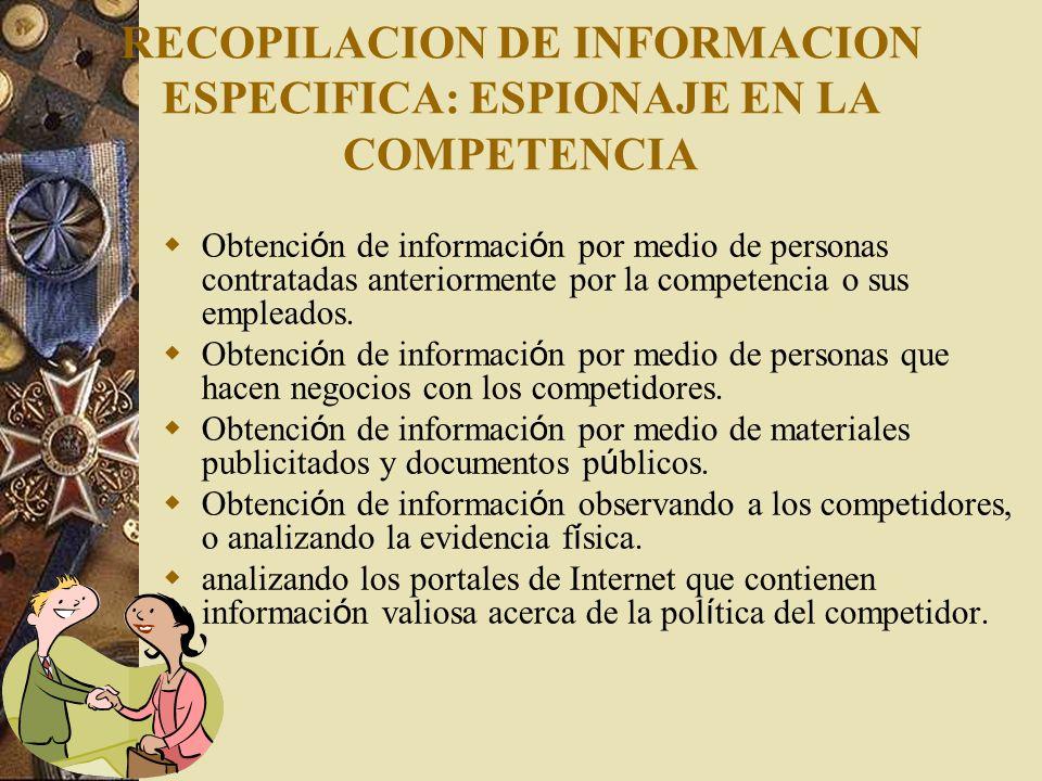 RECOPILACION DE INFORMACION ESPECIFICA: ESPIONAJE EN LA COMPETENCIA
