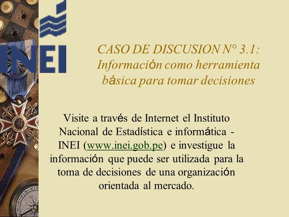 CASO DE DISCUSION N° 3.1: Información como herramienta básica para tomar decisiones