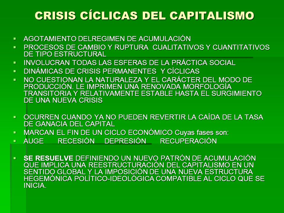 CRISIS CÍCLICAS DEL CAPITALISMO