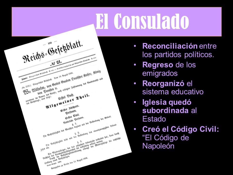 El Consulado Reconciliación entre los partidos políticos.