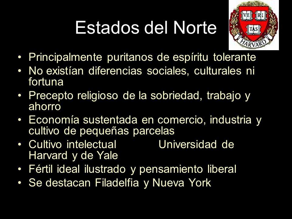 Estados del Norte Principalmente puritanos de espíritu tolerante