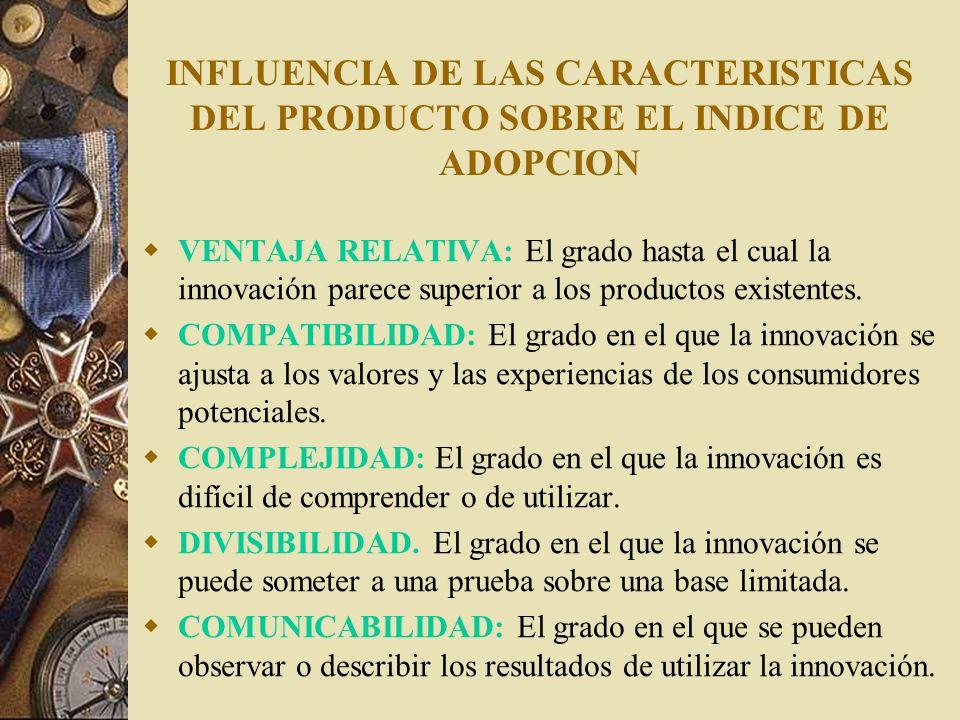 INFLUENCIA DE LAS CARACTERISTICAS DEL PRODUCTO SOBRE EL INDICE DE ADOPCION