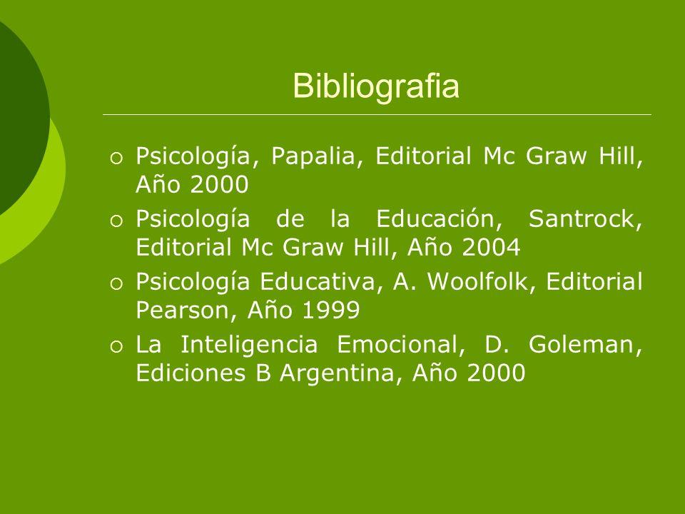Bibliografia Psicología, Papalia, Editorial Mc Graw Hill, Año 2000