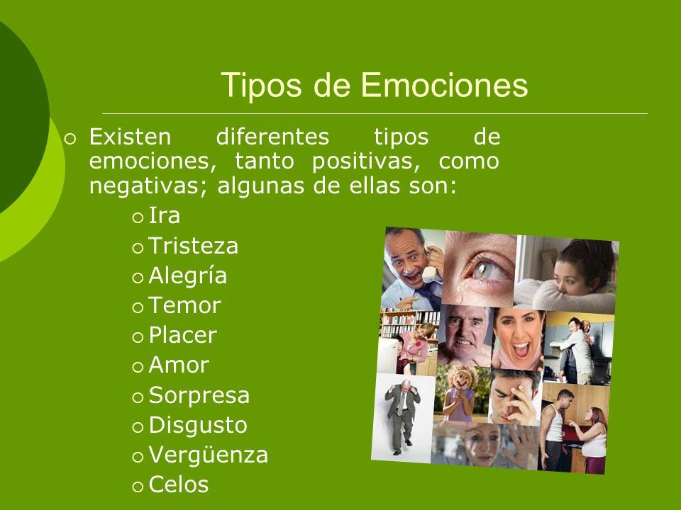 Tipos de EmocionesExisten diferentes tipos de emociones, tanto positivas, como negativas; algunas de ellas son: