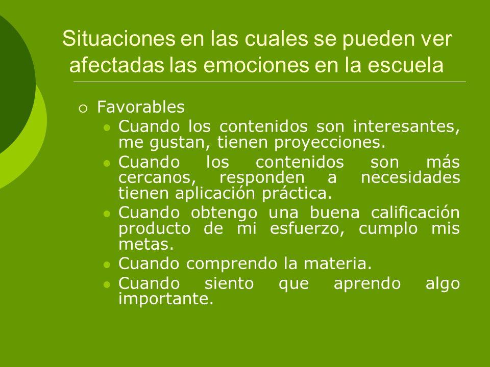 Situaciones en las cuales se pueden ver afectadas las emociones en la escuela