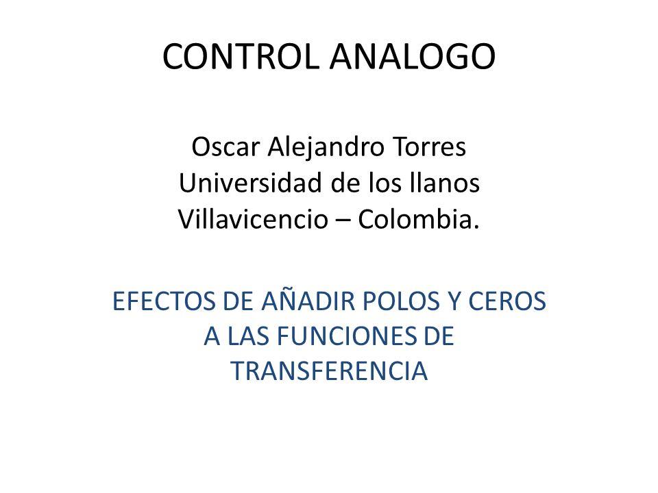 EFECTOS DE AÑADIR POLOS Y CEROS A LAS FUNCIONES DE TRANSFERENCIA