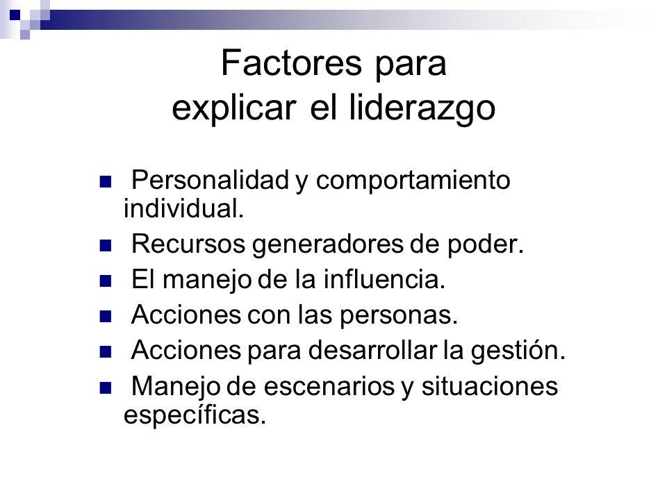 Factores para explicar el liderazgo