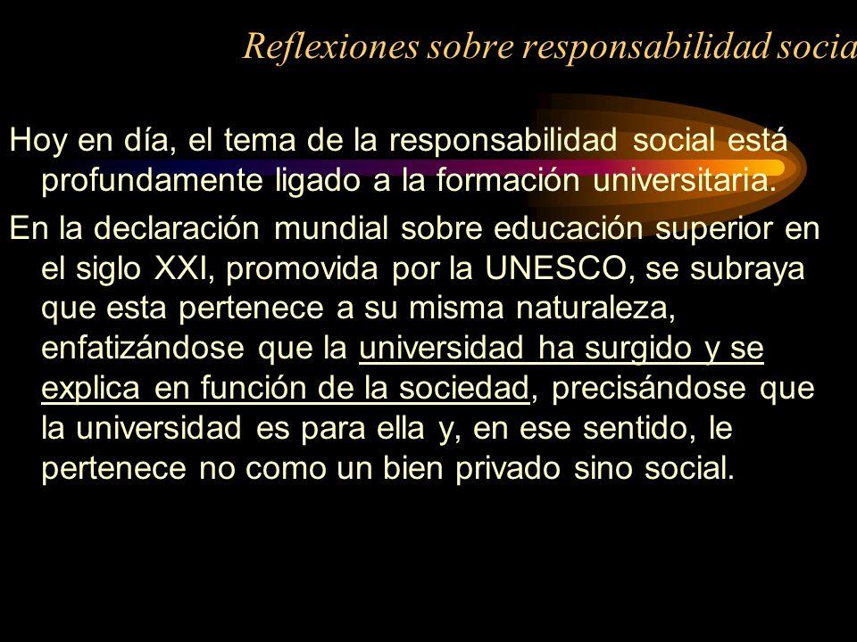 Reflexiones sobre responsabilidad social
