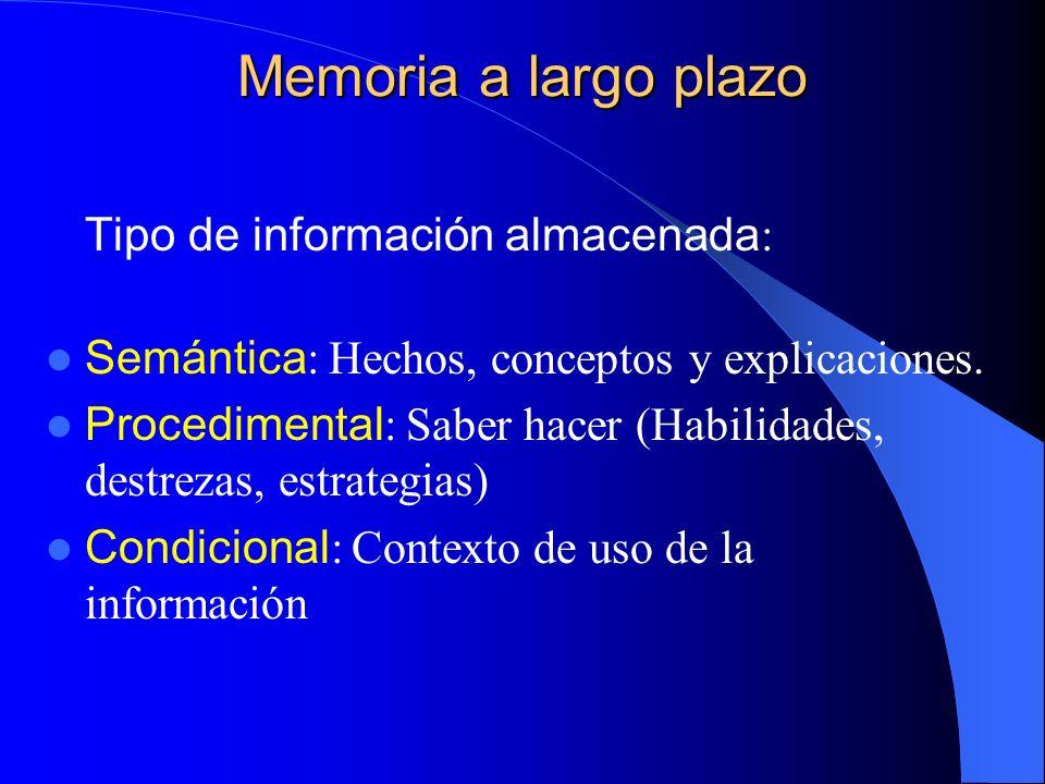 Memoria a largo plazo Tipo de información almacenada: