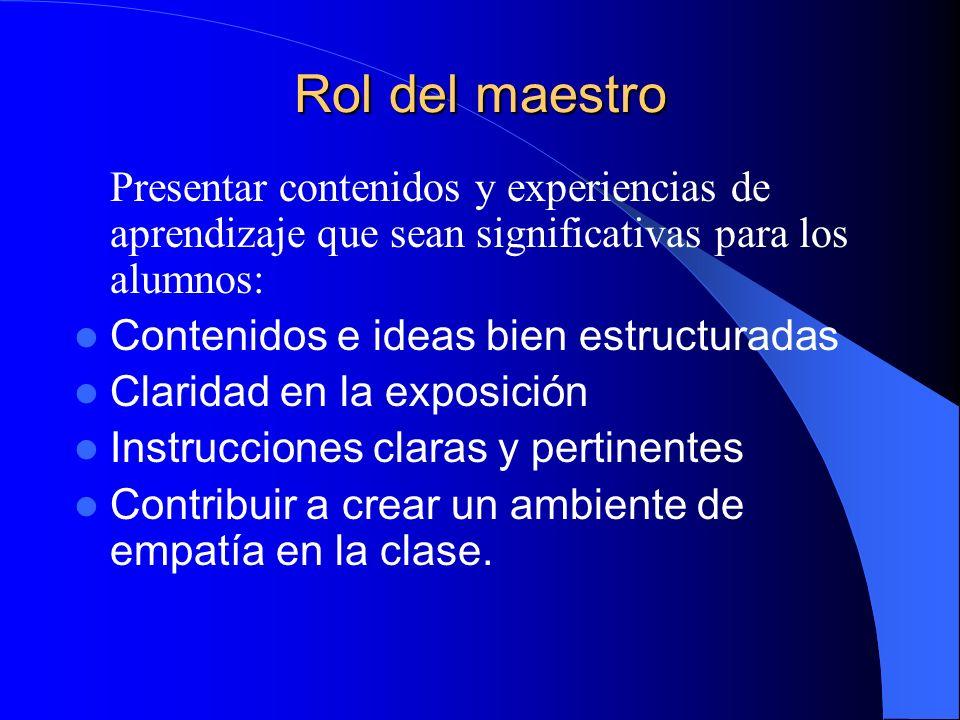Rol del maestro Presentar contenidos y experiencias de aprendizaje que sean significativas para los alumnos: