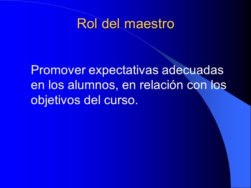 Rol del maestro Promover expectativas adecuadas en los alumnos, en relación con los objetivos del curso.