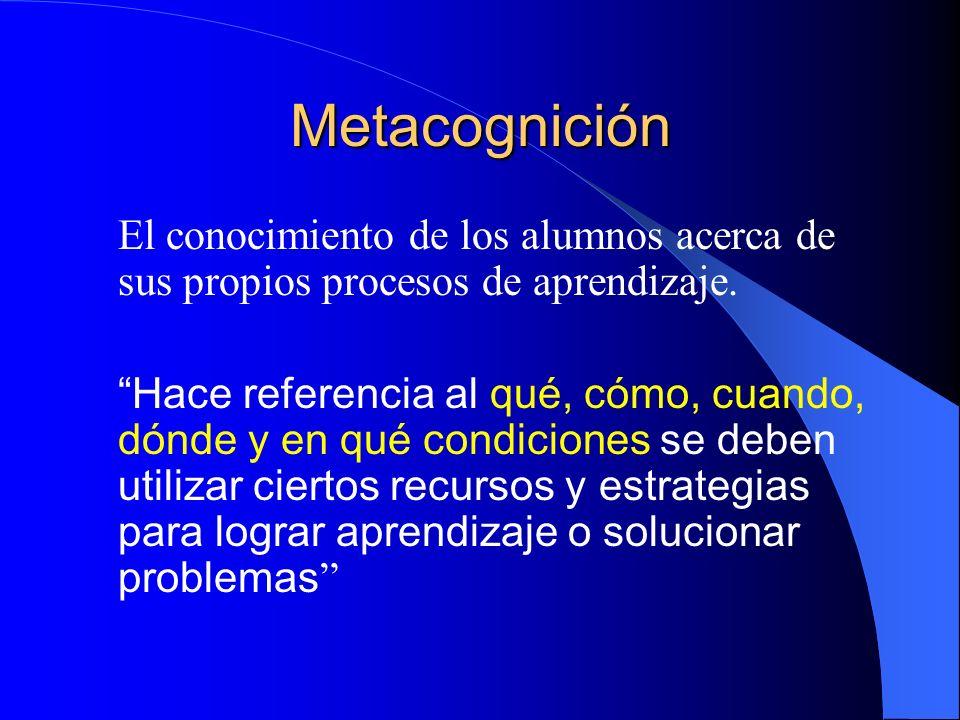 Metacognición El conocimiento de los alumnos acerca de sus propios procesos de aprendizaje.