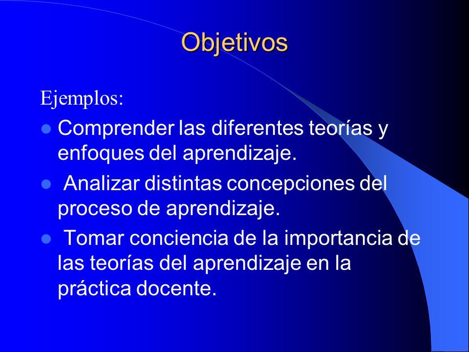 Objetivos Ejemplos: Comprender las diferentes teorías y enfoques del aprendizaje. Analizar distintas concepciones del proceso de aprendizaje.