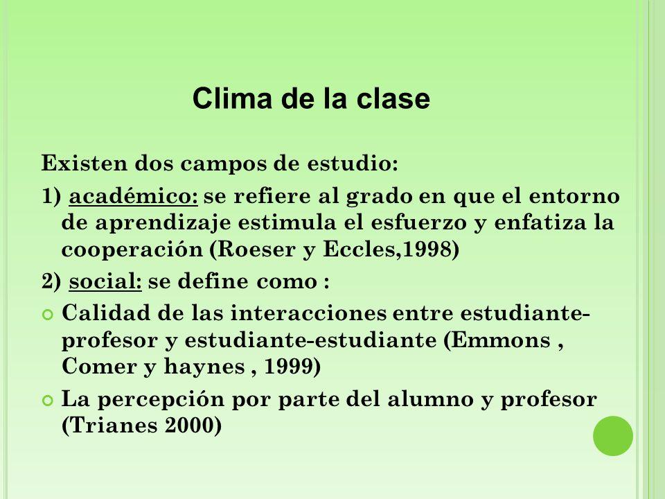 Clima de la clase Existen dos campos de estudio: