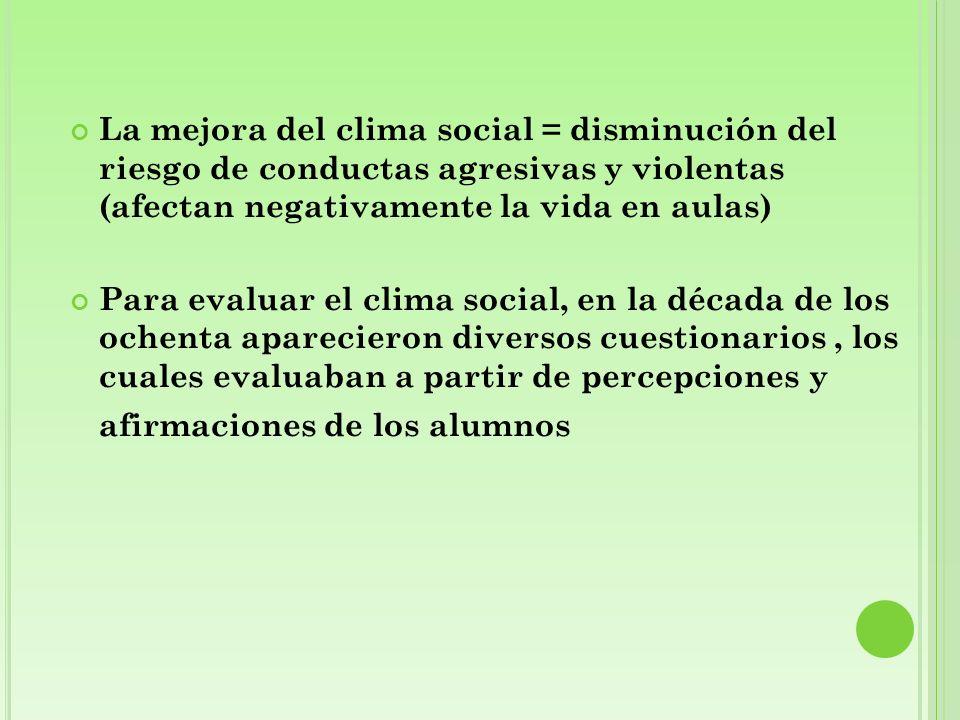 La mejora del clima social = disminución del riesgo de conductas agresivas y violentas (afectan negativamente la vida en aulas)