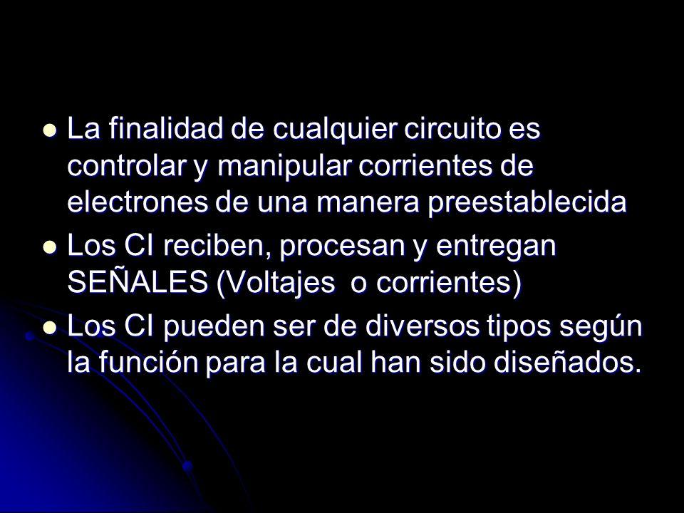 La finalidad de cualquier circuito es controlar y manipular corrientes de electrones de una manera preestablecida
