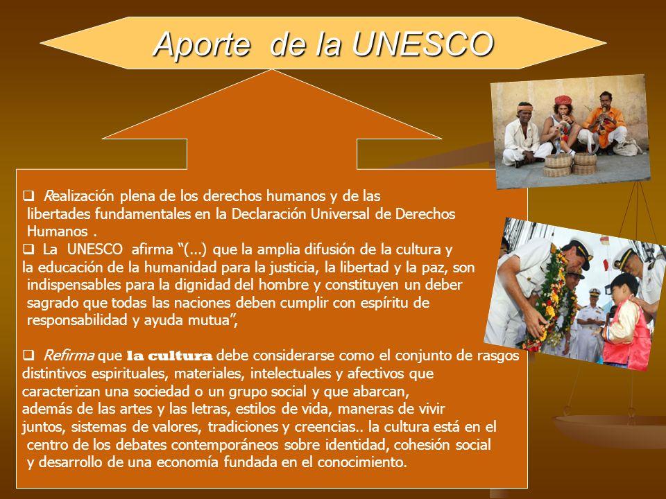 Aporte de la UNESCO Realización plena de los derechos humanos y de las
