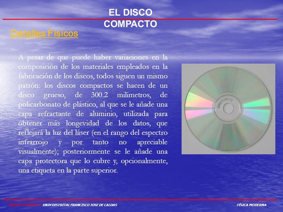 EL DISCO COMPACTO Detalles Físicos