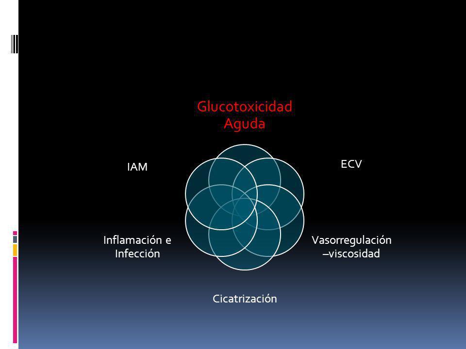 Glucotoxicidad Aguda ECV Vasorregulación –viscosidad Cicatrización