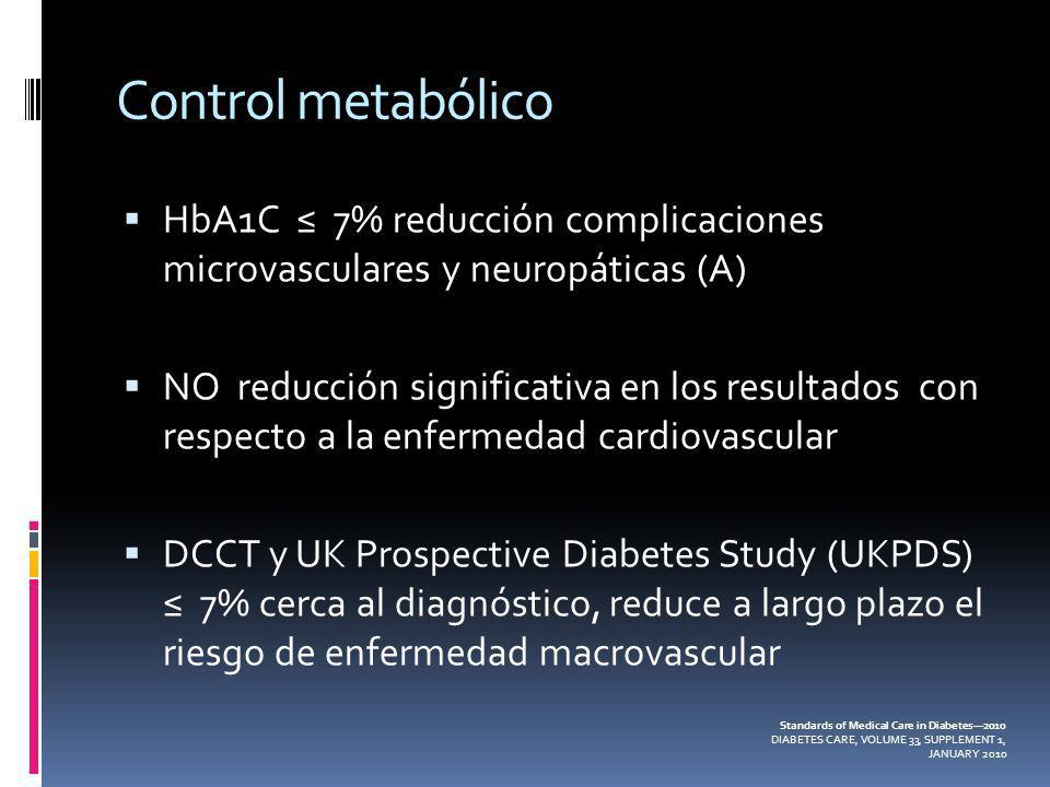 Control metabólicoHbA1C ≤ 7% reducción complicaciones microvasculares y neuropáticas (A)