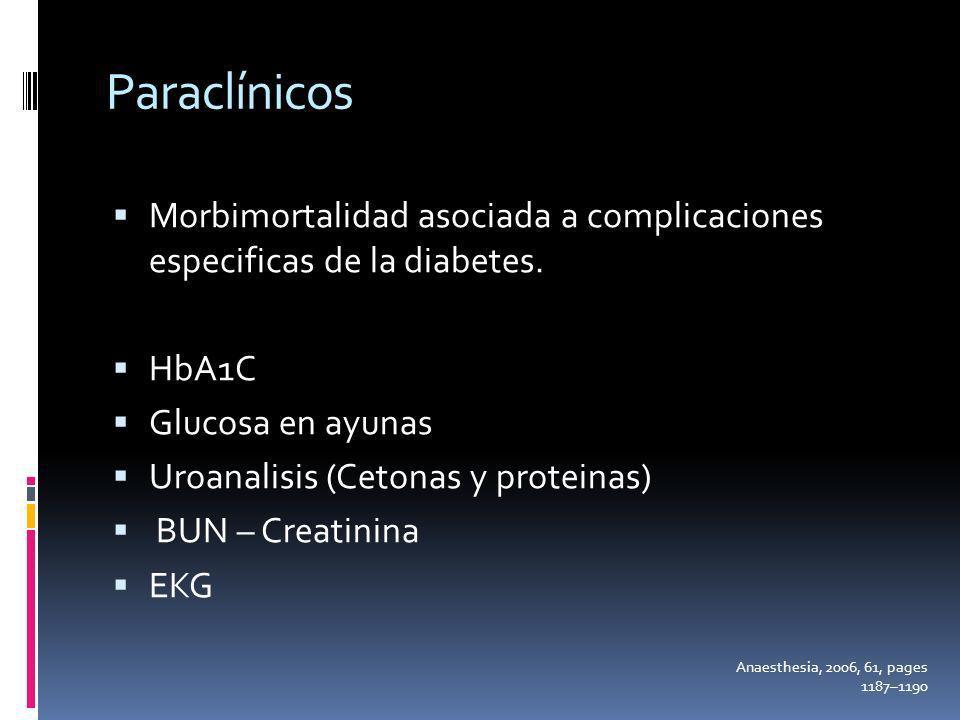 ParaclínicosMorbimortalidad asociada a complicaciones especificas de la diabetes. HbA1C. Glucosa en ayunas.