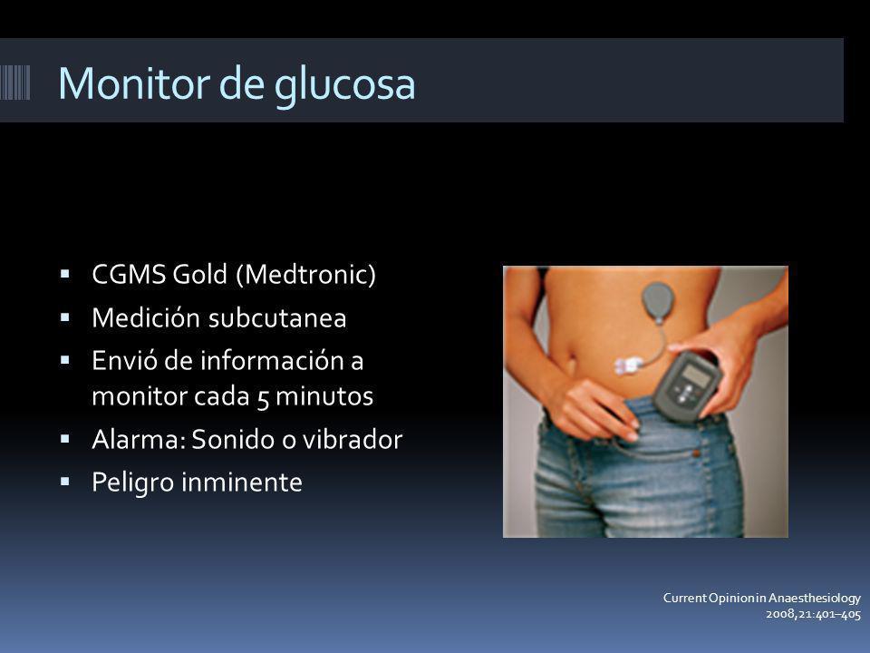Monitor de glucosa CGMS Gold (Medtronic) Medición subcutanea