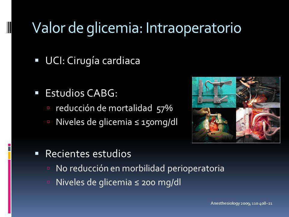 Valor de glicemia: Intraoperatorio