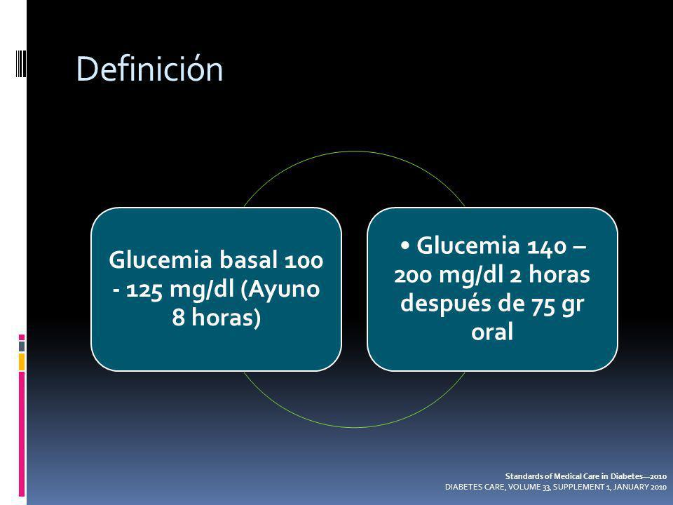 Glucemia basal 100 - 125 mg/dl (Ayuno 8 horas)
