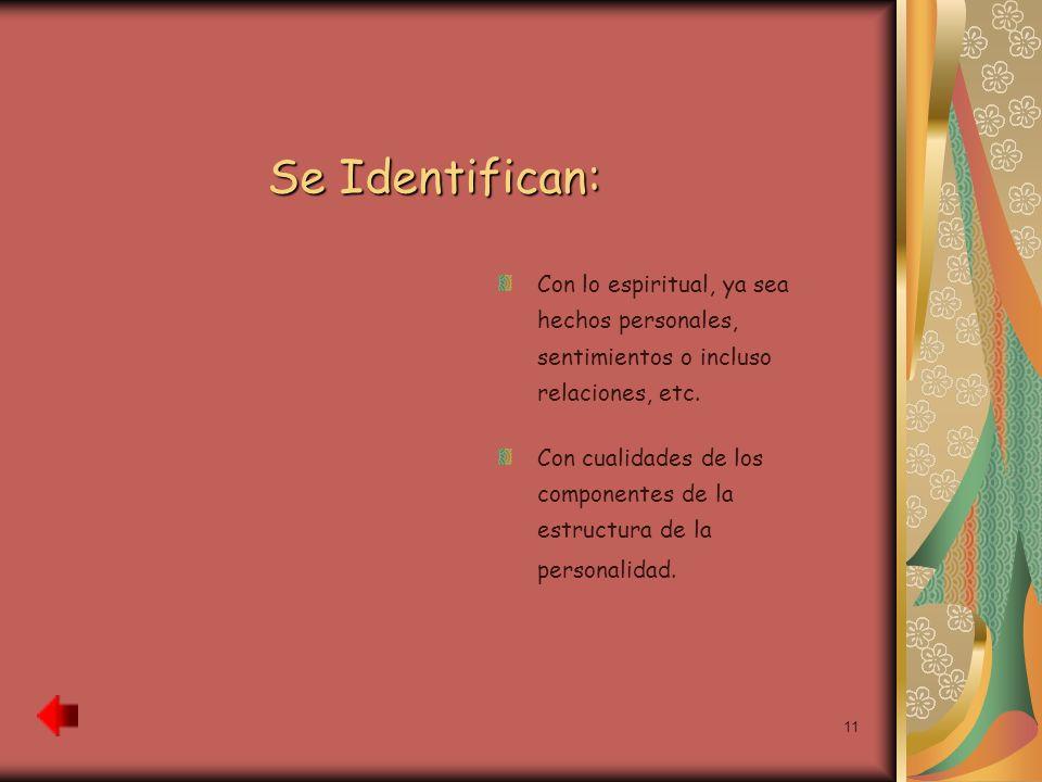 Se Identifican: Con lo espiritual, ya sea hechos personales, sentimientos o incluso relaciones, etc.