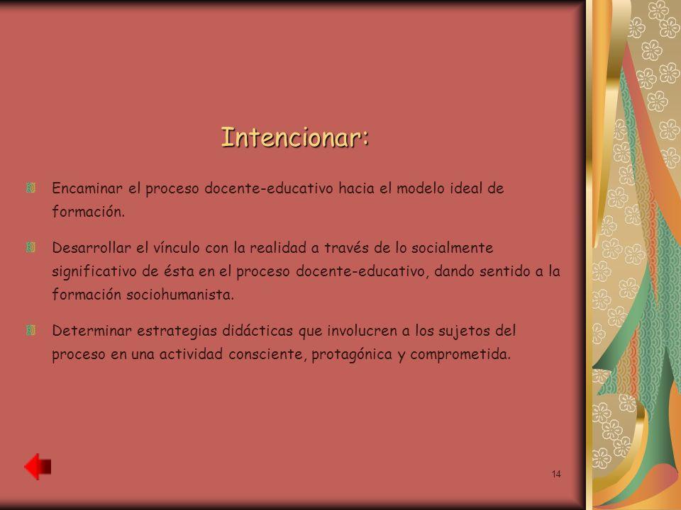 Intencionar:Encaminar el proceso docente-educativo hacia el modelo ideal de formación.