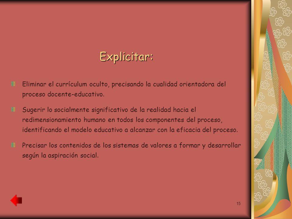 Explicitar: Eliminar el currículum oculto, precisando la cualidad orientadora del proceso docente-educativo.