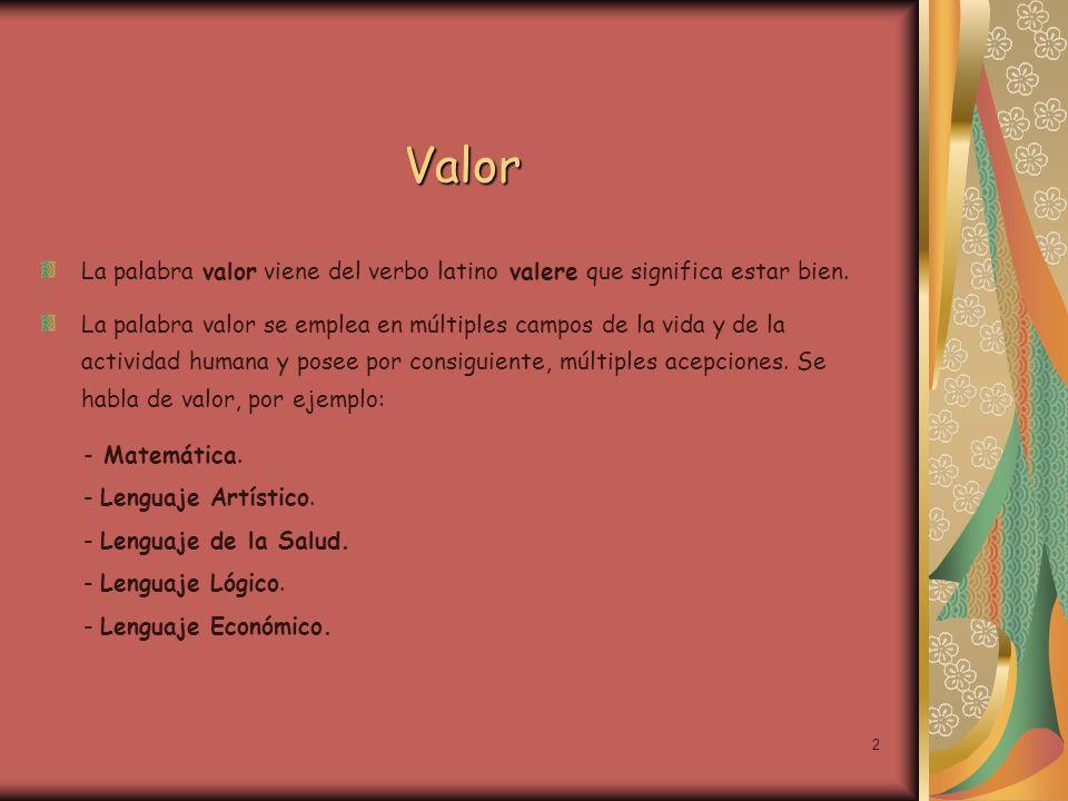 ValorLa palabra valor viene del verbo latino valere que significa estar bien.