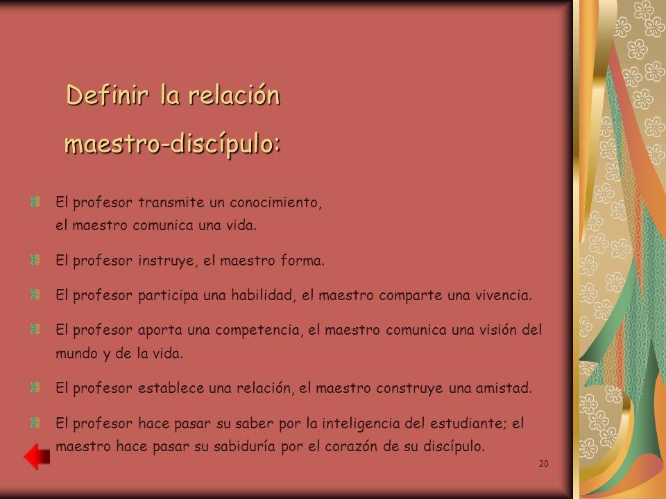 Definir la relación maestro-discípulo: