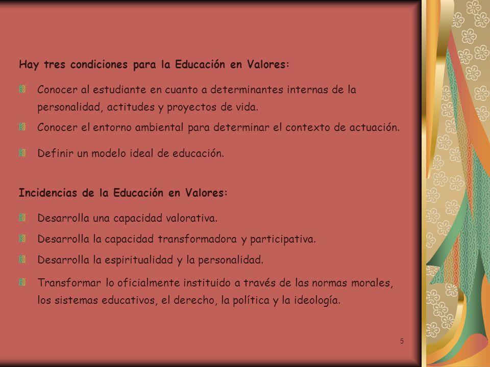 Hay tres condiciones para la Educación en Valores: