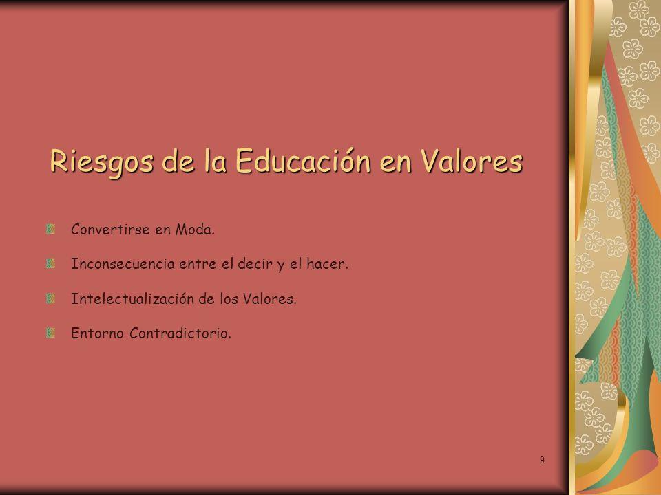 Riesgos de la Educación en Valores