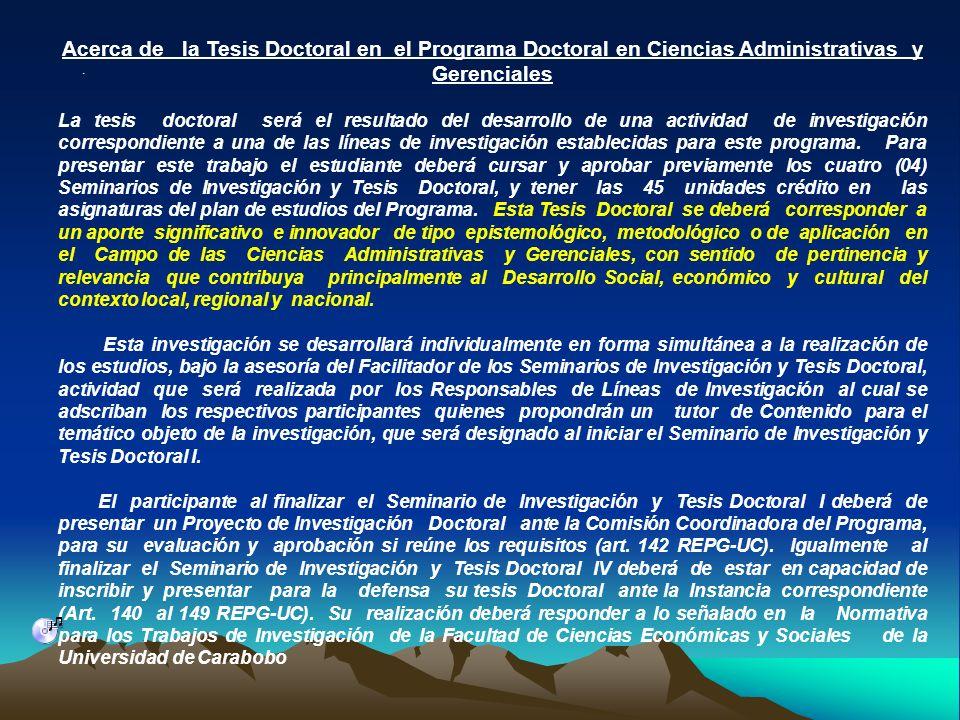 Acerca de la Tesis Doctoral en el Programa Doctoral en Ciencias Administrativas y Gerenciales