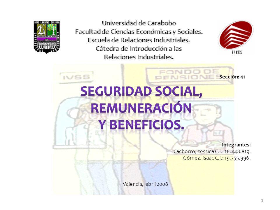 Seguridad social, Remuneración y Beneficios.