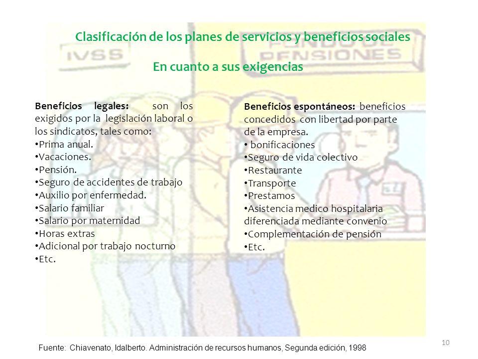 Clasificación de los planes de servicios y beneficios sociales