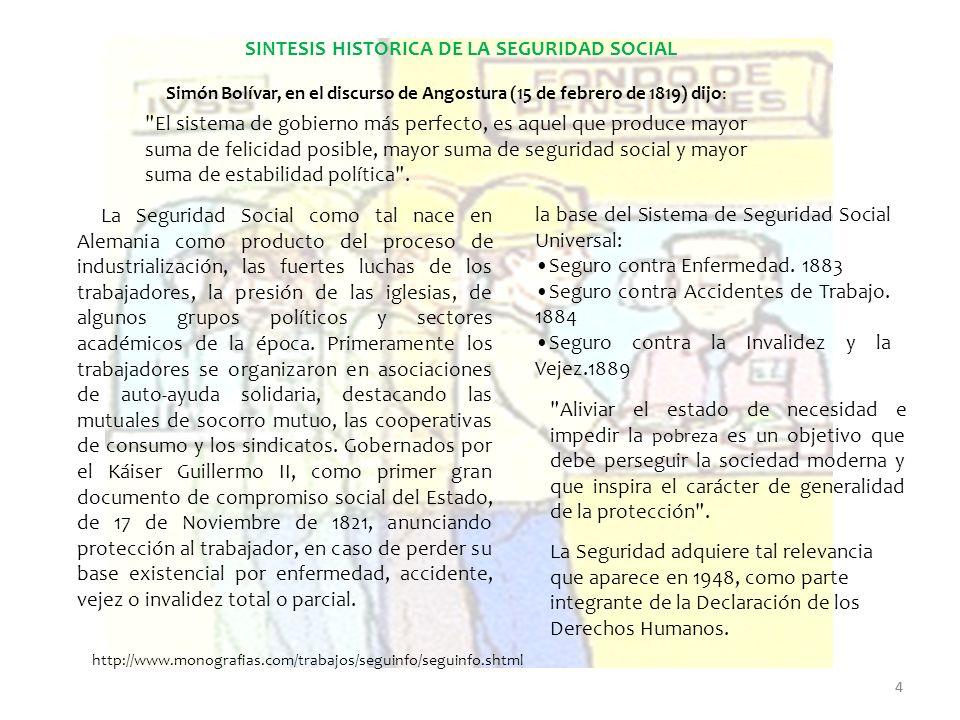 SINTESIS HISTORICA DE LA SEGURIDAD SOCIAL