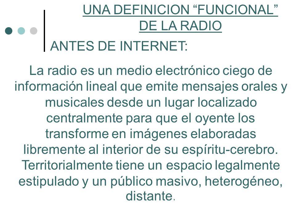 UNA DEFINICION FUNCIONAL DE LA RADIO