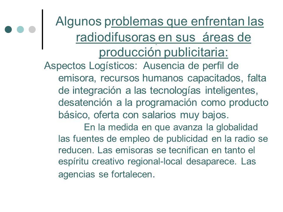 Algunos problemas que enfrentan las radiodifusoras en sus áreas de producción publicitaria: