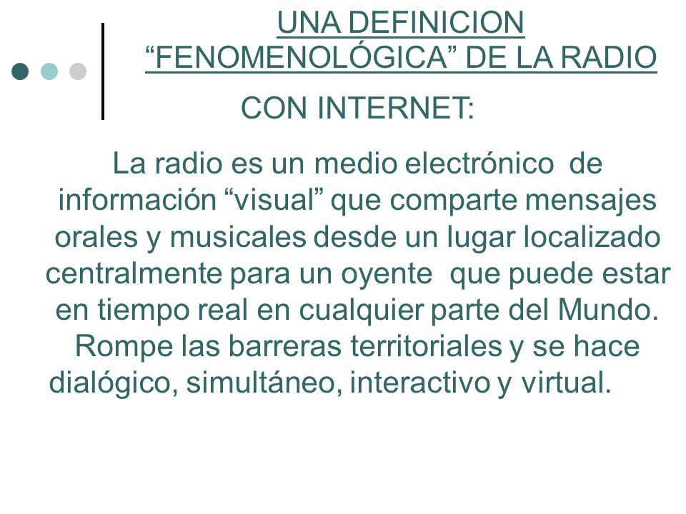 UNA DEFINICION FENOMENOLÓGICA DE LA RADIO