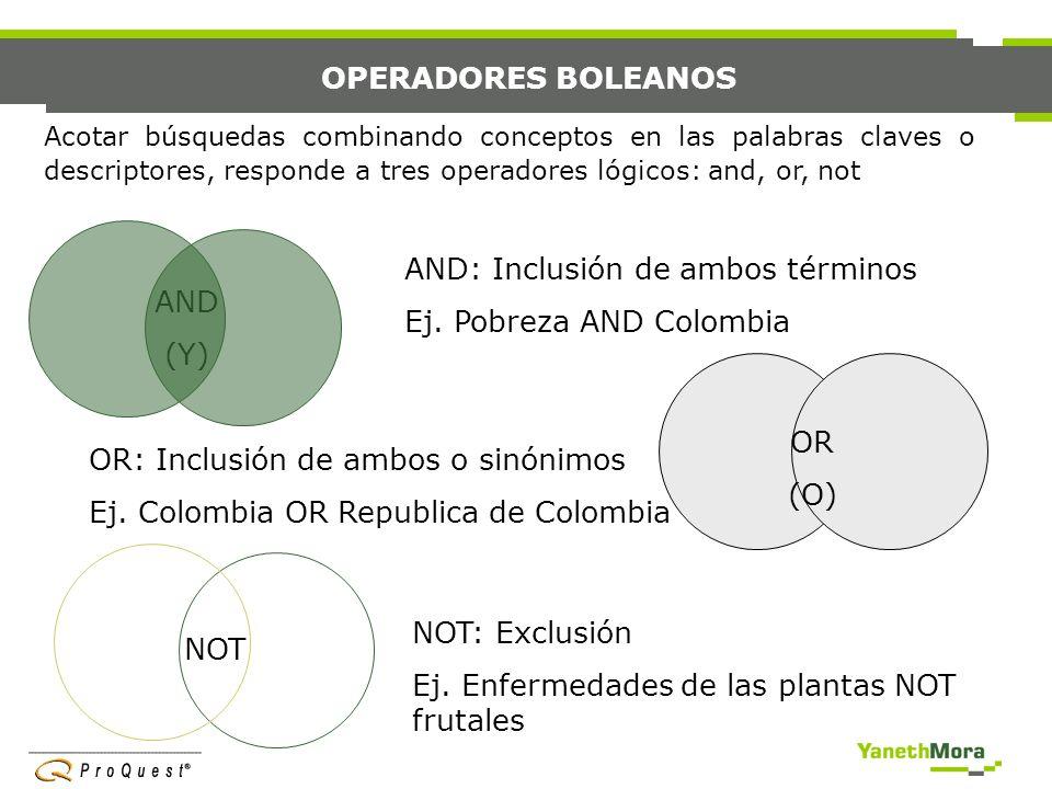 AND: Inclusión de ambos términos Ej. Pobreza AND Colombia AND (Y)