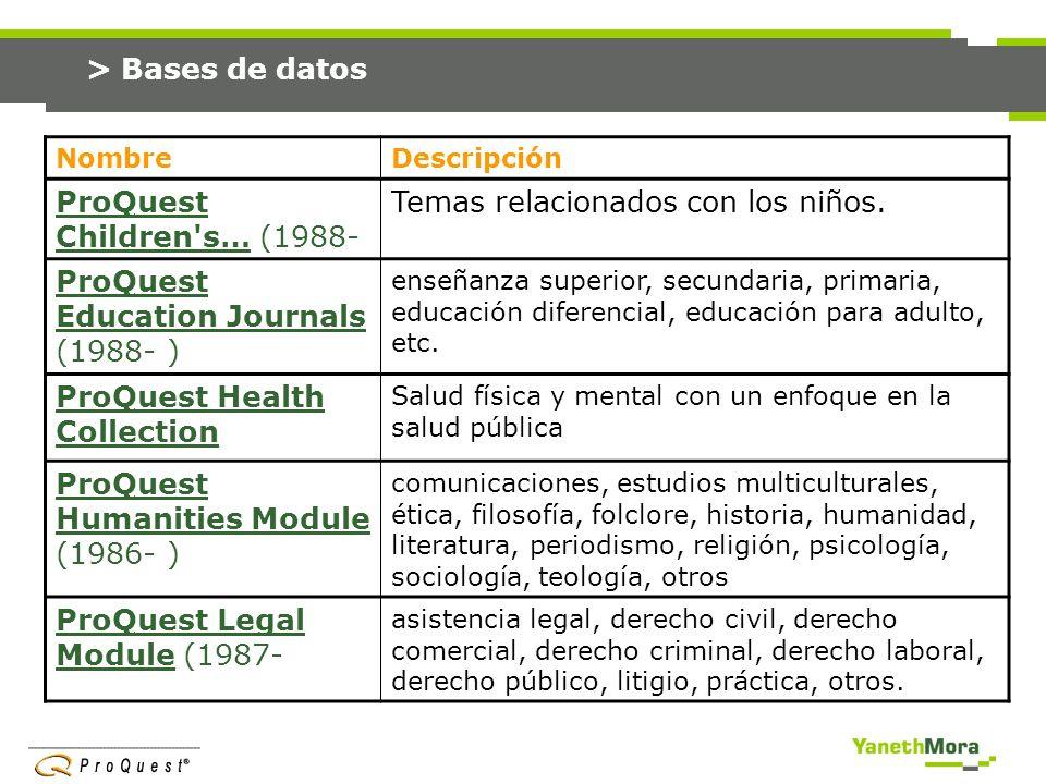 ProQuest Children s… (1988- Temas relacionados con los niños.