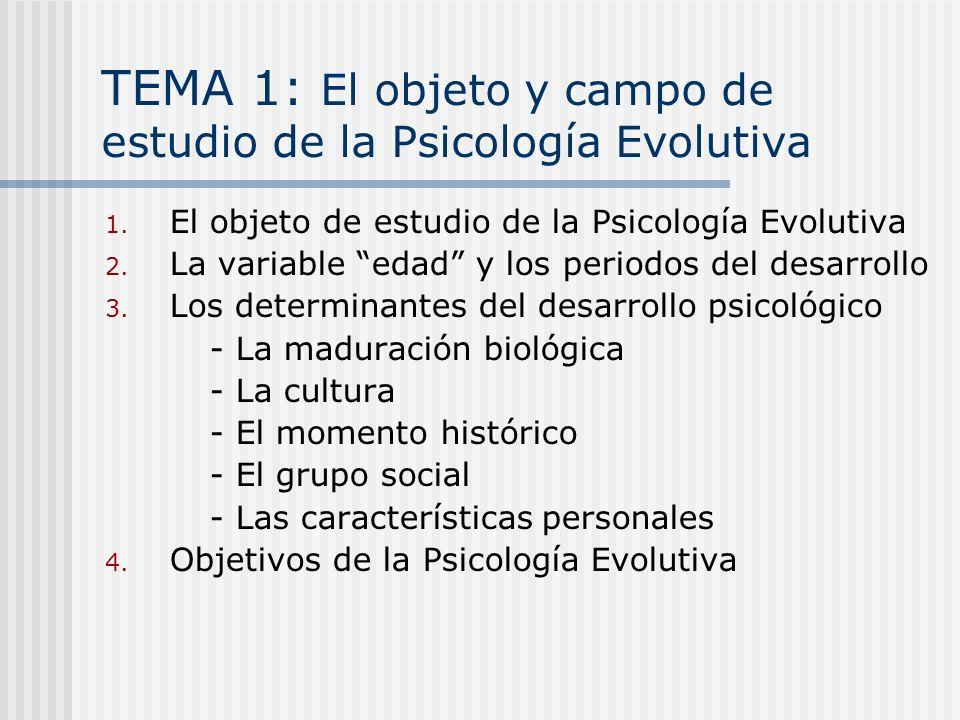 TEMA 1: El objeto y campo de estudio de la Psicología Evolutiva