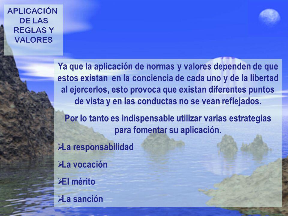 APLICACIÓN DE LAS. REGLAS Y. VALORES.