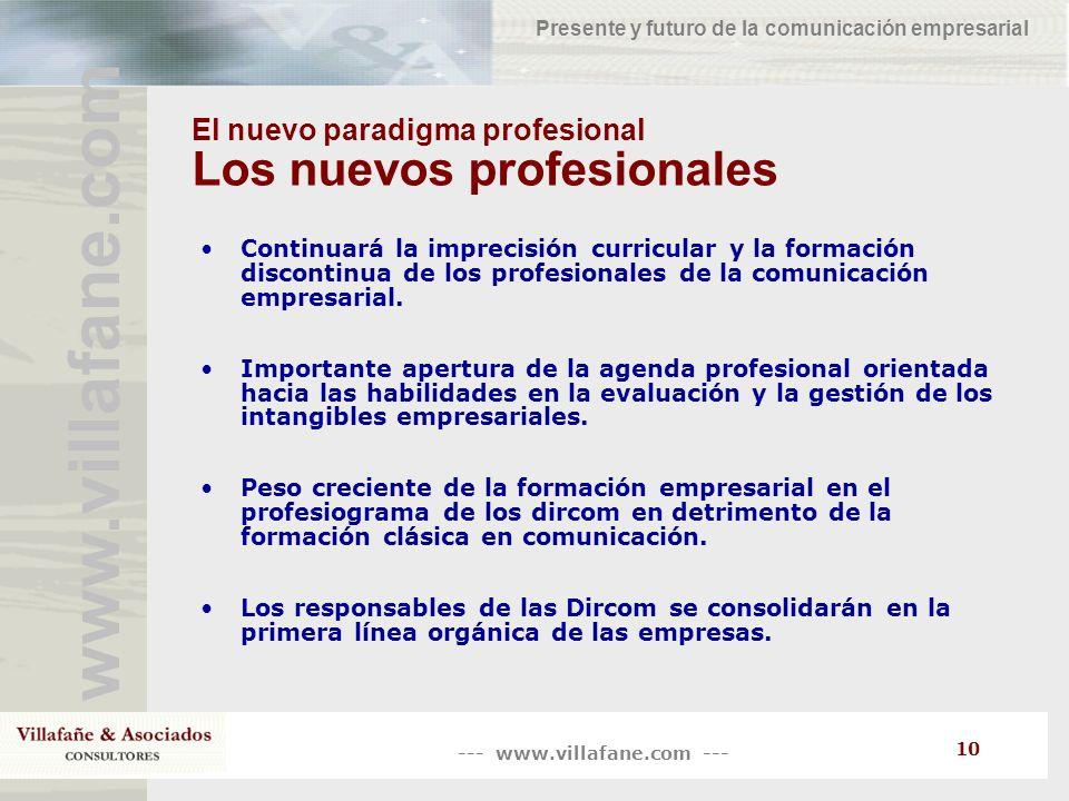 El nuevo paradigma profesional Los nuevos profesionales