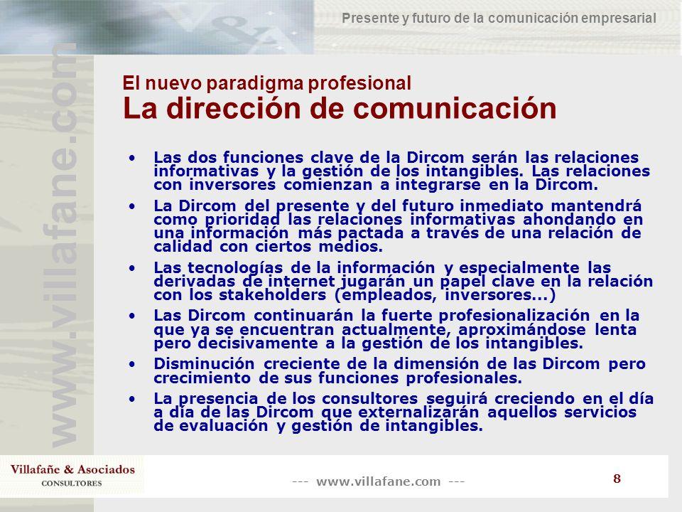 El nuevo paradigma profesional La dirección de comunicación