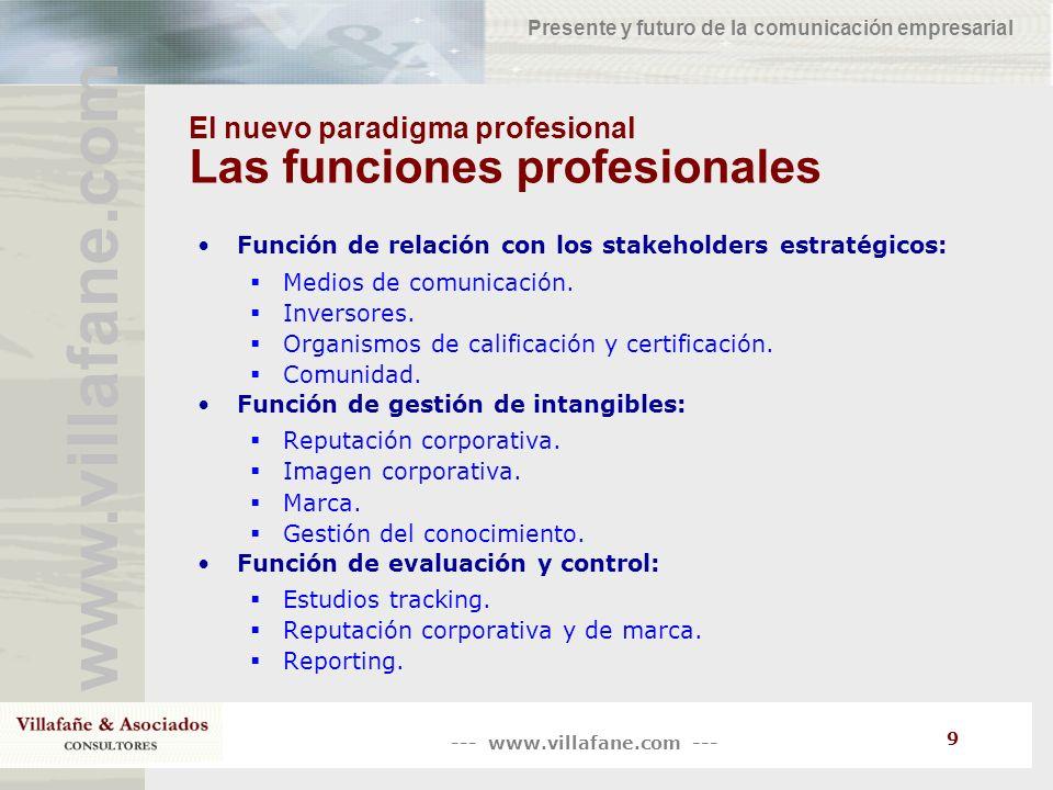 El nuevo paradigma profesional Las funciones profesionales