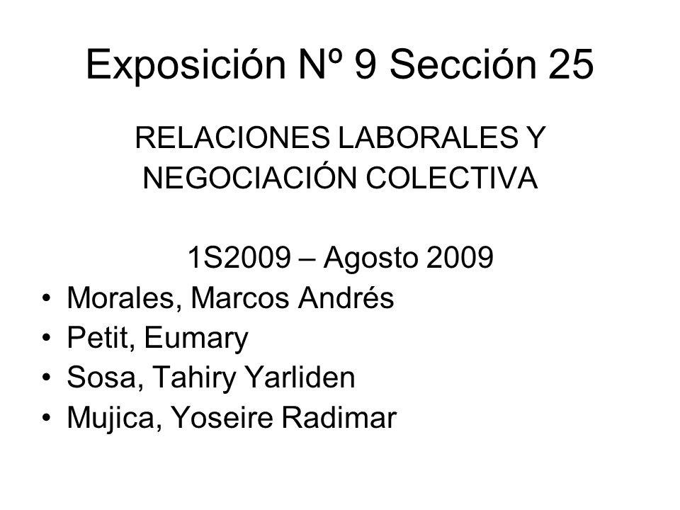 Exposición Nº 9 Sección 25 RELACIONES LABORALES Y